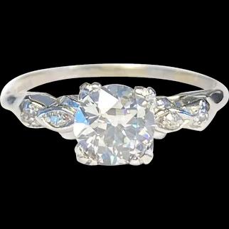 Art Deco 0.82CT Natural Diamond Engagement Ring GIA