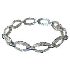 Blue Sapphire and Diamond Platinum Link Bracelet