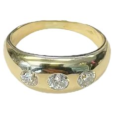 Vintage Three Stone Gypsy  Old Cut Natural Diamond Ring 18K