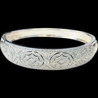 Art Deco Style 18K White Gold & Diamond Bangle Bracelet