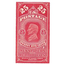 Antique 1865 U.S. Postage Stamp 25 cent NEWSPAPERS and PERIODICALS Tax Stamp