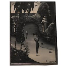 J. C. Sterlin Signed Oil on Board Black and White Listed Artist Early Work Art Nouveau Mid Century