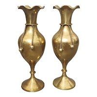 Antique brass mantle vases, knot vases, c. 1890's.