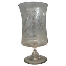 Victorian etched glass vase, trumpet vase