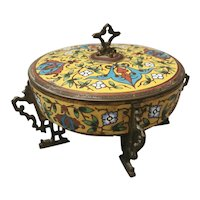 Antique French bronze and champleve enamel pot, Chinoiserie