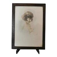 Vintage sepia photograph, young girl portrait