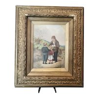 Antique oil painting, children and ferrets, framed