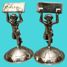 Victorian silver plated menu holders