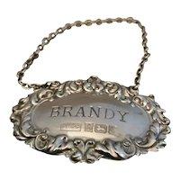Vintage sterling silver brandy label