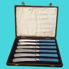 Vintage silver plated dessert knives, cased