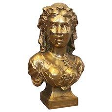 Antique gilt spelter bust of a lady, Art Nouveau