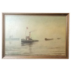 Vintage oil painting, marine, boats, T A Neal, signed 70's wall art