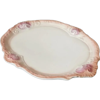 Antique French ceramic platter, French Rococo pink and white serving platter
