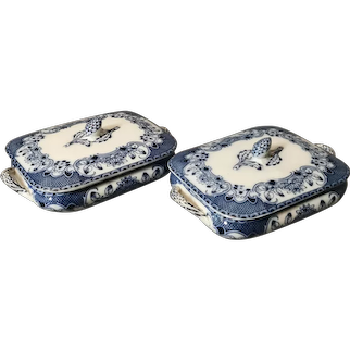Antique blue and white tureens, serving dishes