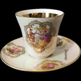 Vintage lustre China tea cup and saucer, Romantic, gilt porcelain, Alboth Kaiser