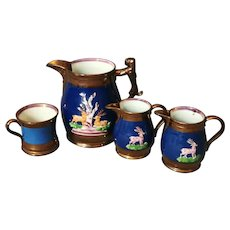 Antique Staffordshire lustreware jug set