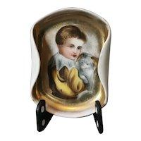 Vintage Italian gilt plate, boy and dog