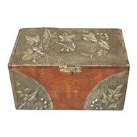 Antique Art Nouveau tea caddy with flaral design