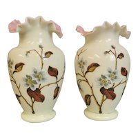 Antique Victorian enamelled glass vases, Primrose glass, pair