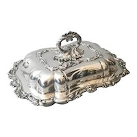 Antique Silver Plated Tureen Or Serving Dish, Walker and Hall