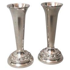 Vintage silver plated bud vases, c 1960's