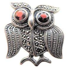 Vintage Sterling Silver Marcasite Owl Brooch with Garnet Eyes