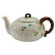 Irish Belleek Teapot, Shamrock Basket Weave, 2nd Black Mark