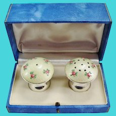 Yellow Guilloche Enamel Sterling Silver Salt And Pepper Shakers With Pink Roses In Original Box