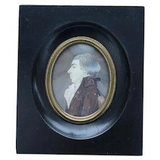 Antique  early 1800s french miniature portrait painting watercolor curved glass