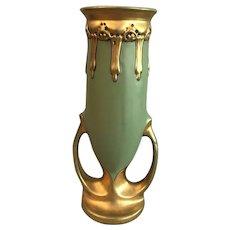 Julius Dressler Vase with Gilt Handles and Gilt Trim, Green Porcelain, 1890-1910