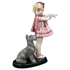 Goldscheider Figurine 7664 Come With Me, Girl & Dog