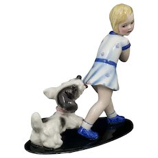 Goldscheider Figurine 6853 Young Girl Playing with Dog