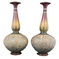Royal Doulton Pair Of Slater Vases Art Nouveau - 1 Vase Damaged
