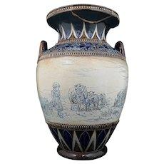 Royal Doulton Hannah Barlow Vase Large With Handles - Restored