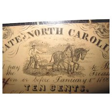1862 N.C. State Note( Raleigh) 10 Cent