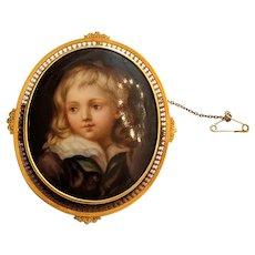 Miniature Portrait Of A Young Boy On Porcelain