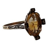 10k Yellow Gold Ring With Citrine And Diamonds