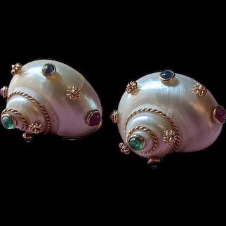 MAZ 14kt Gold Madagascar Seashell Earrings
