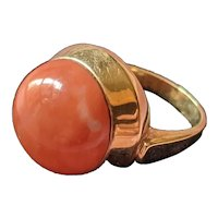 Coral and 14kt Yellow Gold Ring