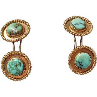 Turquoise and 14kt Yellow Gold Cufflinks