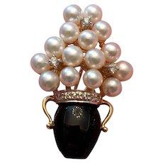 14kt Gold and Onyx Flower Vase Brooch