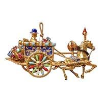 14kt Horse Drawn Wagon Brooch