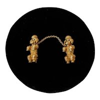 Pair of 18kt Gold Poodle Pins Connected By A Chain