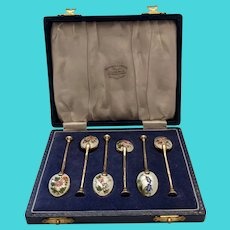 English Sterling Silver And Enamel Spoons
