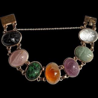 Hard Stone Scarab and 14k Gold Bracelet