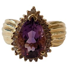 Vintage Amethyst, Diamonds, And 14k Gold Ring