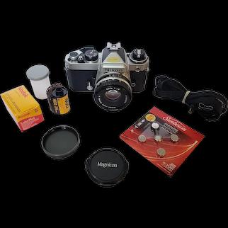 Nikon FE made in Japan film camera with Nikon 50mm 1:1.8 Series E Lens