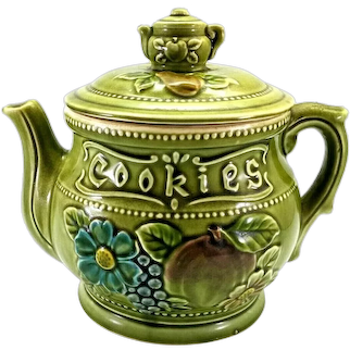 Royal Sealy Teapot Cookie Jar Olive Green w Fruit Majolica