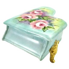 Vintage Miniature Grand Piano Trinket Box Blue with Hand Painted Roses Signed