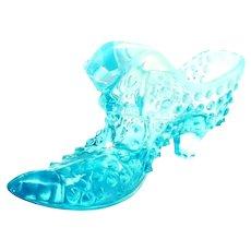 Vintage Fenton Aqua Blue Opalescent Glass Hobnail Slipper Cat Head Shoe Planter